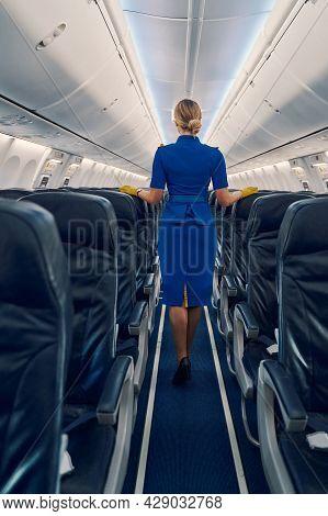 Slim Stewardess With A Hair Bun Standing In The Cabin Aisle