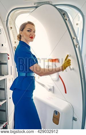 Serene Flight Attendant Posing For The Camera Aboard The Aircraft
