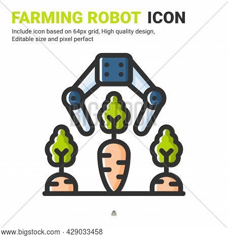 Farming Robot Icon Vector With Outline Color Style Isolated On White Background. Vector Illustration