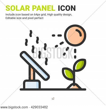 Solar Panel Icon Vector With Outline Color Style Isolated On White Background. Vector Illustration S