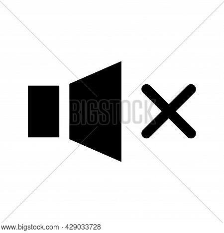Speaker Off, Round Icon. Mute. Forbidden Sound. Glyph Icon Of A Speaker For Your Web Site Design, Lo