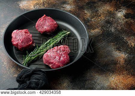 Marbled Beef Meat Black Angus Steak Set, Filet Mignon Tenderloin Cut, On Frying Cast Iron Pan, On Ol