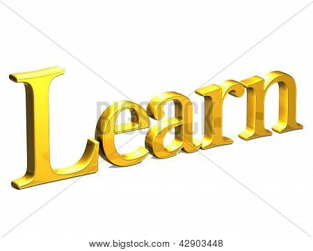 3D Gold Word Learn On White Background
