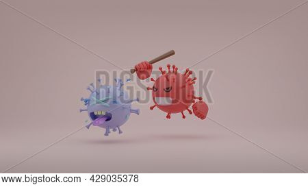 New Evolve Delta Variant Coronavirus Hit Or Beat The Original Covid-19 Virus By Baseball Bat 3d Rend