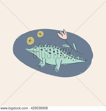 Cute Crocodile Alligator Cartoon Doodle Australian Animal Kids Art Drawing.