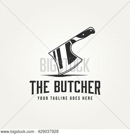 Butcher With Axe Isolated Logo Icon Template Vector Illustration Design. Classic Retro Typography St