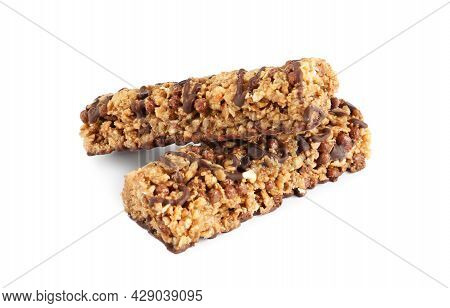Granola Bars With Chocolate On White Background. High Protein Snack