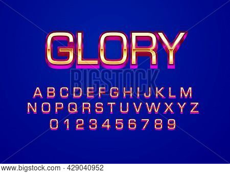 Glory Gold Red Font Effect. Set Of Alphabet Character And Number In Gold Metal Style For Logo Templa