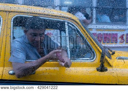 Howrah, West Bengal, India - 25th September 2019 : Raindrops Falling On Glass, Abstract Blurs - Mons
