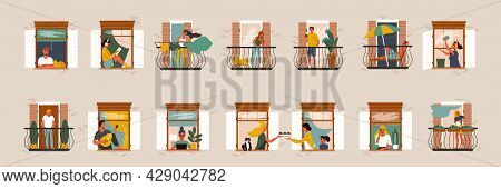 Flat Set With Neighbours In Their Windows And On Balconies Doing Various Daily Activities Isolated V