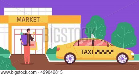 Taxi Supermarket Composition With Outdoor View Of Market Building With Client Holding Shopping Bags