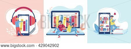 Three Online Library Design Concept Set With Audiobooks Learning Language And Online Library Descrip
