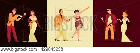 Retro Twenties Design Concept With Three Square Compositions With Male And Female Human Characters O