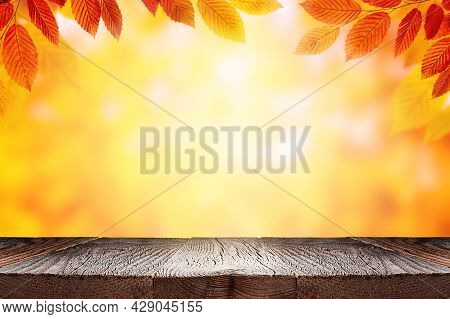 Empty Wooden Table And Orange Autumn Leaves Over Blurred Nature Background. Fall Background With Emp