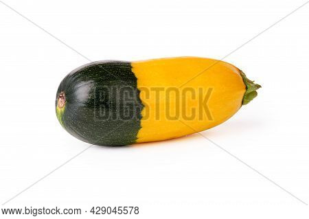 Colored Zucchini. Bicolor Vegetable. Zucchini Yellow And Green On A White Background