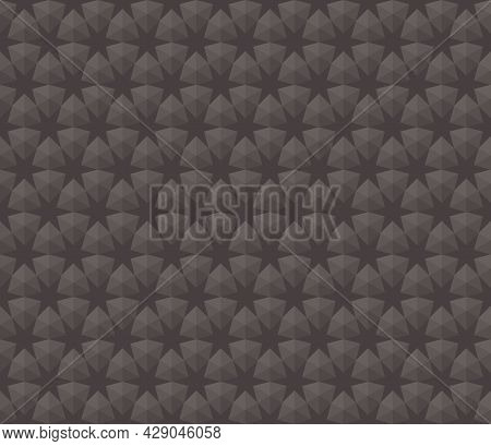 Background Pattern 3d Six-pointed Star Seamless Brown. Abstract Geometric Shapes Arrange Them In A G