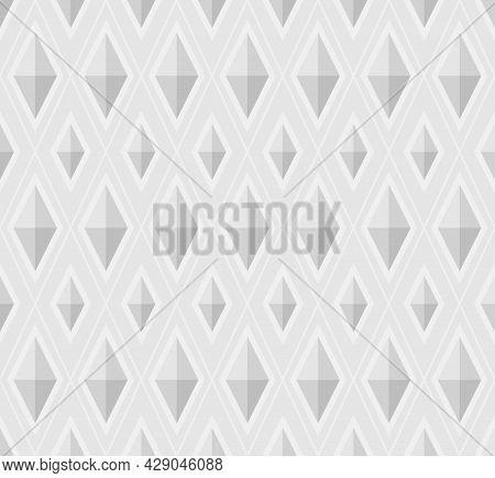 Geometric Background Pattern Seamless. Diamond Shape White 3d. Surface Design For Apparel, Textile,