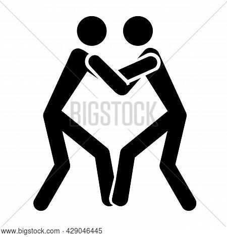 Icon: Wrestling, Judo, Unarmed Self-defense,  Wrestling - Isolated On White Background. Two People W