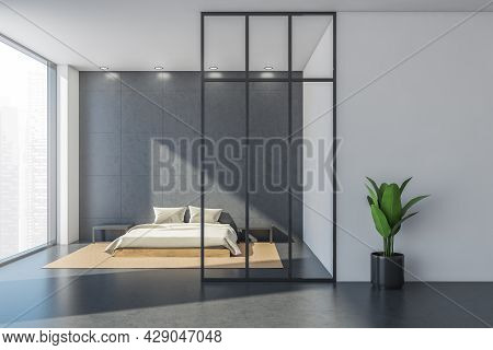 Grey Minimalist Bedroom Area Design Using Wall Tiles, Four Simple Lights And Concrete Floor. Framed