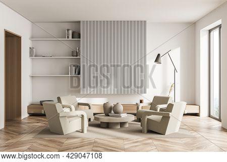 Light Living Room Interior, Having Original Place For Banner With White Panels, Three Shelves, Woode