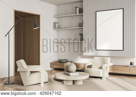 Banner In The Living Room Interior With Elegant Wall Lining, Beige Armchairs With Coffee Table On Th
