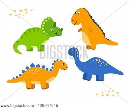 Cute Cartoon Dinosaur Set. Hand-drawn Dinos For Kid. Children Vector Illustration .