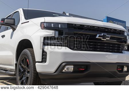 Muncie - Circa August 2021: Chevrolet Silverado 1500 Display. Chevy Is A Division Of Gm And Offers T