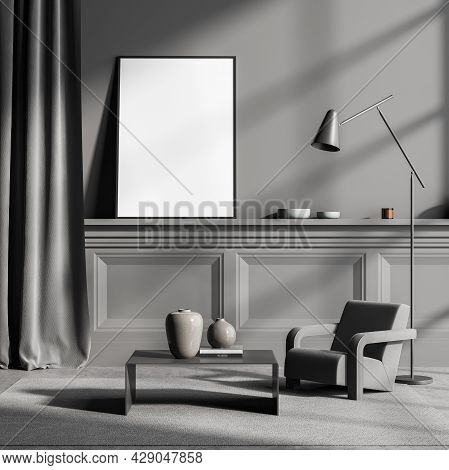 Banner, Standing On The Ledge Basement In The Grey Interior With Wall Panelling, Curtain, One Armcha