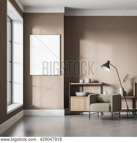Banner On The Light Brown Wall Of The Waiting Room Interior Half Open Low Shelf, Armchair, Lamp, Pan