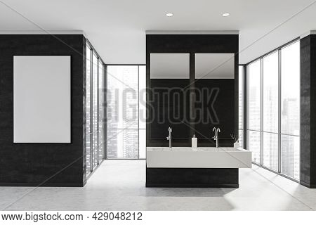 Banner On A Black Wall Of A Bathroom Space With A White Stone Floor And A Partition With Two Sinks I