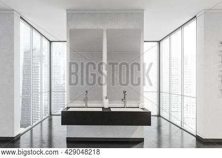 A Trendy Double Sink Shelf In A Black And White Skyscraper Area With Panoramic Windows Behind A Part