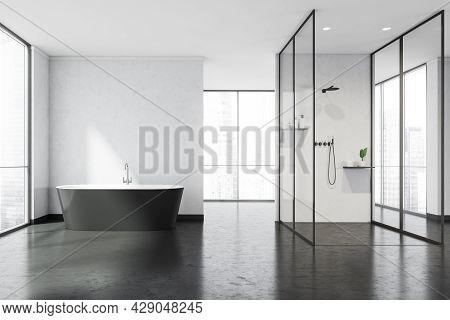 Panoramic Bathroom, Having Walkways, White Walls And Glass Partitions. Modern Black Bathtub And Dark