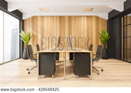 Interior With Desk, Four Rolling Chairs, Sliding Glass Door, Panoramic View, Ceiling Ledges, Wood Wa