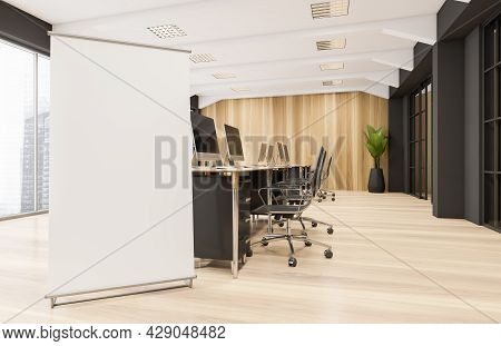 Flip Chart Design In The Office Interior With Row Of Work Desks, Rolling Chairs, Panoramic Window, S