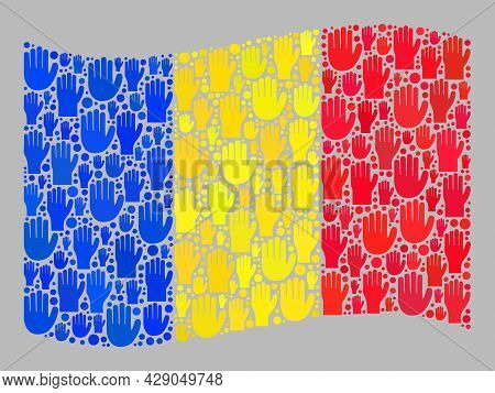 Mosaic Waving Romania Flag Created Of Raised Up Referendum Palm Icons. Vector Political Collage Wavi