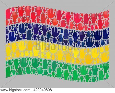 Mosaic Waving Mauritius Flag Designed With Raised Ballot Palm Icons. Vector Ballot Mosaic Waving Mau