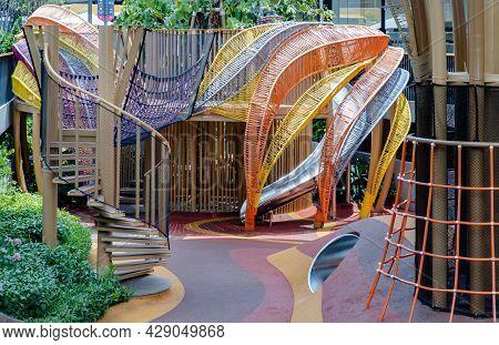 Bangkok, Thailand - 06 Jan 2021 : Shaded Kid's Playground Activity Tower Equipment At Park. Children