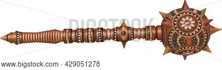 A Mace Made Of Wood, Decorated With Ornaments, Carvings, Floral Patterns In Yellow-blue Tones, With