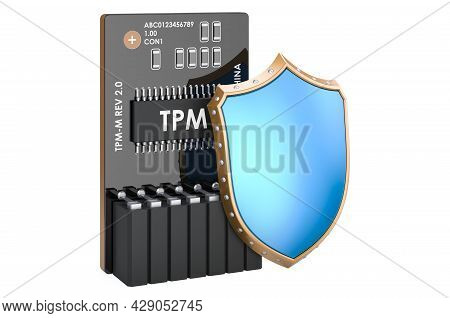 Trusted Platform Module With Shield. Security And Protection Concept, 3d Rendering Isolated On White