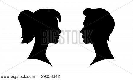 Silhouette Of Couple. Male And Female Face. Opposite Each Other, Side View. Beautiful Woman And Hand