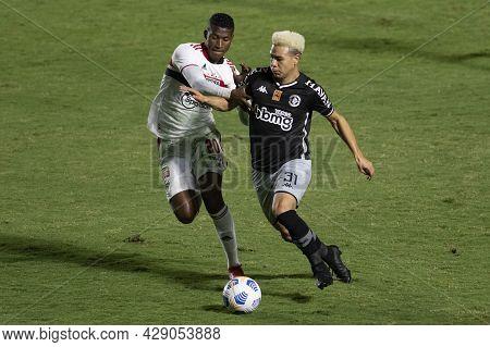 Rio, Brazil - August 04, 2021: Marquinhos Gabriel And Orejuela Players In Match Between Vasco Vs Sao