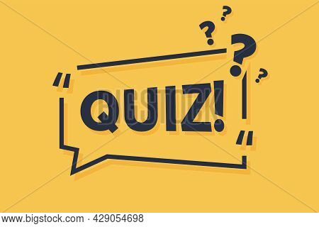 Quiz Symbol. Megaphone Yellow Vector Banner. Answer Question Sign. Examination Test. Thought Speech