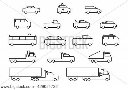 Simple Line Art Car Icons Set. Universal To Use In Web And Mobile Ui, Basic Elements Automobile Outl