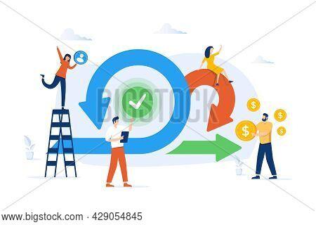 Scrum Agile Framework Plan As Software Development Method Tiny Person Concept. Effective Teamwork Fo