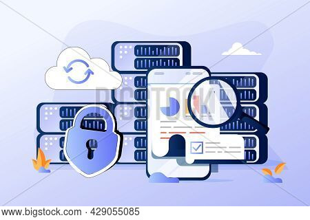 Data Visualization Concept, Big Data, Vector Illustration. Machine Learning Algorithm. Analysis Info