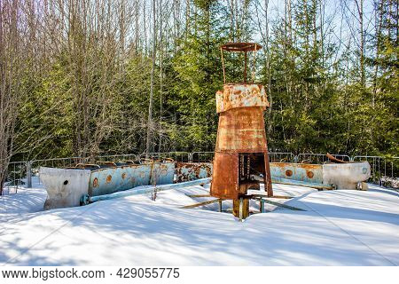 Old Children's Attraction Train On The Territory Of An Abandoned Children's Camp, A Former Pioneer C