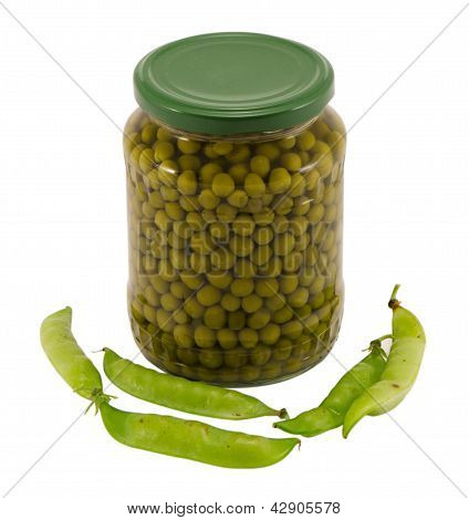 Canned Preserve Pease Glass Pot Jar Raw Shell Food