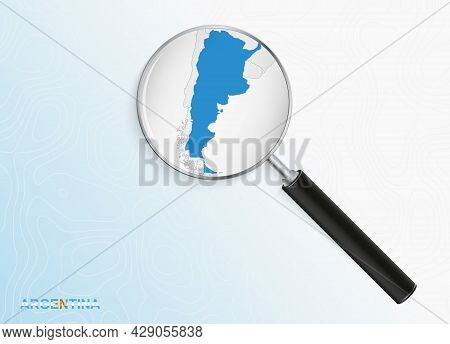 Magnifier With Map Of Argentina On Abstract Topographic Background. Vector Map.