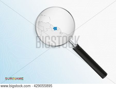 Magnifier With Map Of Suriname On Abstract Topographic Background. Vector Map.
