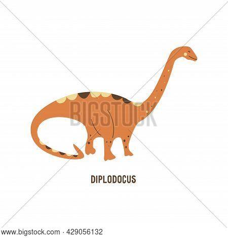 Dinosaur Diplodocus. Sauropod. Large Extinct Ancient Reptile, Jurassic Period. Mesozoic Era. Colorfu